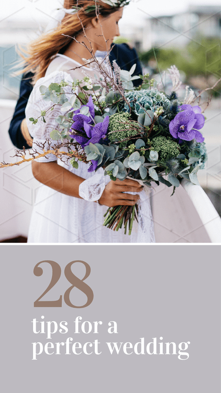 28 Tips for a Perfect Wedding Pinterest Graphic Template