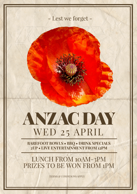Anzac day template with single poppy image mightylinksfo