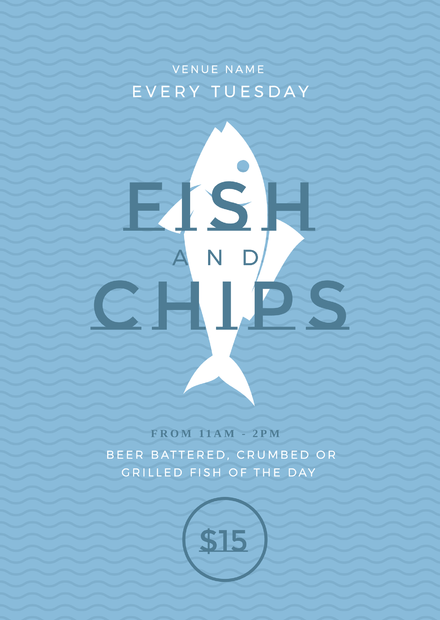fish and chips blue and white promotional template