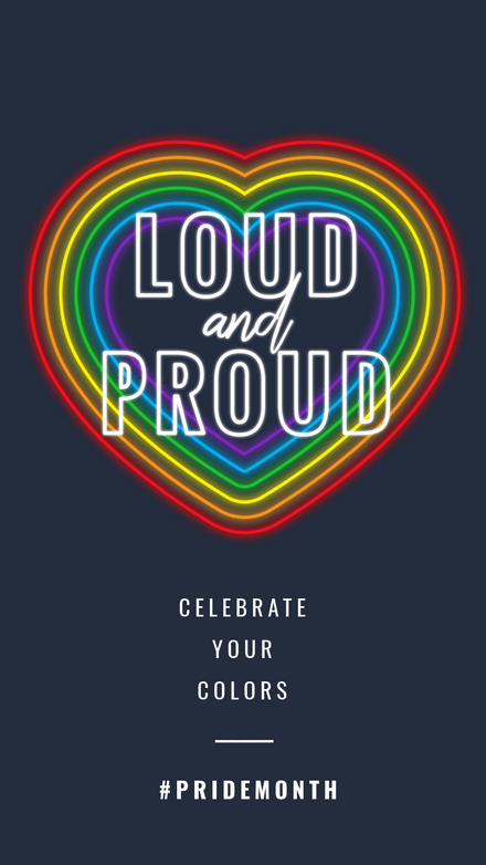 Loud and Proud Celebrate Pride Neon Heart Graphic