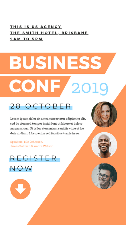 Blue and Orange Angled Business Conference Template