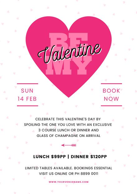 Valentine's Day Be my Valentine Pink Hearts