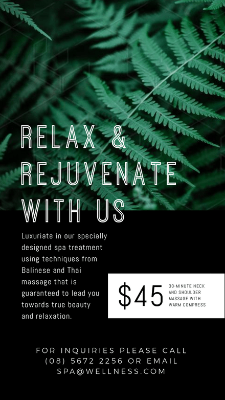 Relax & Rejuvenate Beauty Salon Promotion
