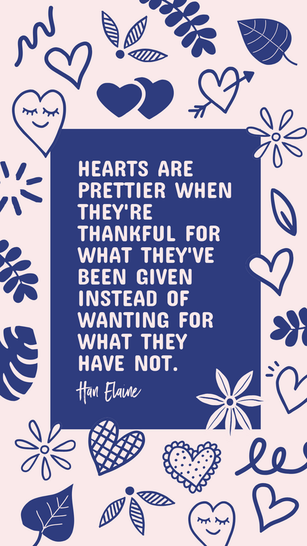 Quote: Gratitude Heart Pink and Blue Illustrations