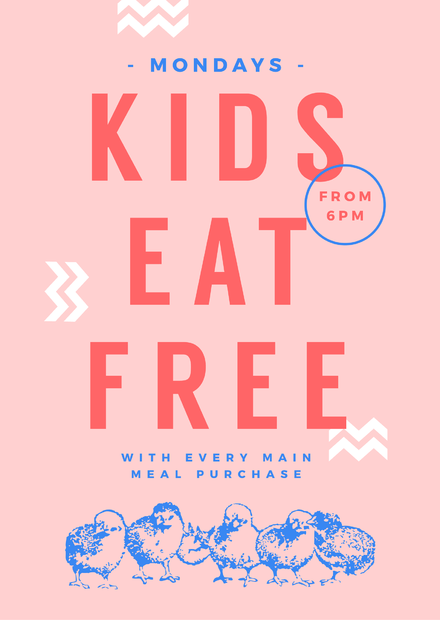 Kids Eat Free Template Pastel Colored Template with Chick illustration