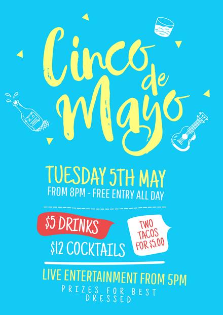 Cinco de Mayo blue design with illustrations