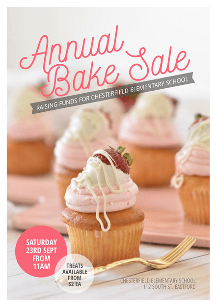 Annual Bake Sale Fundraiser Template Pink & Grey