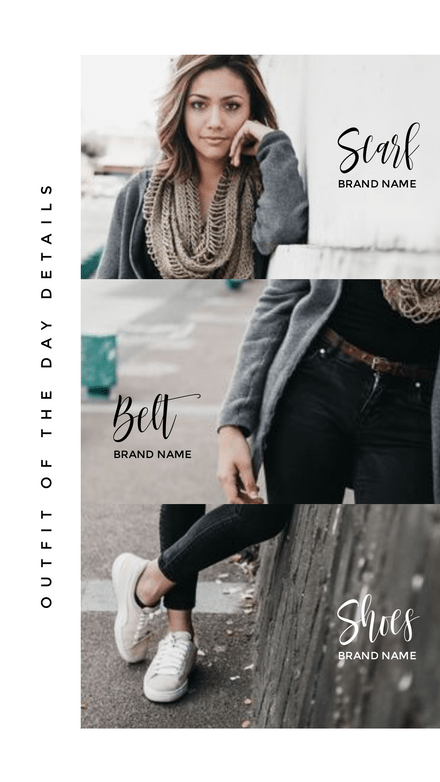 Triple Image Frame plus outfit details Story Template