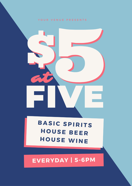 $5 at 5 Drink Specials and Happy Hour Promotion Template