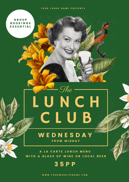 The Lunch Club - Floral Vintage Style Template