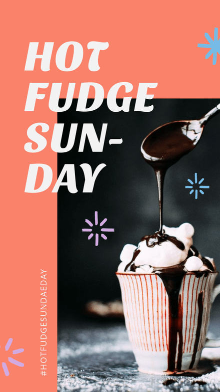 Pastel Hot Fudge Sundae With Hand Drawn Bursts