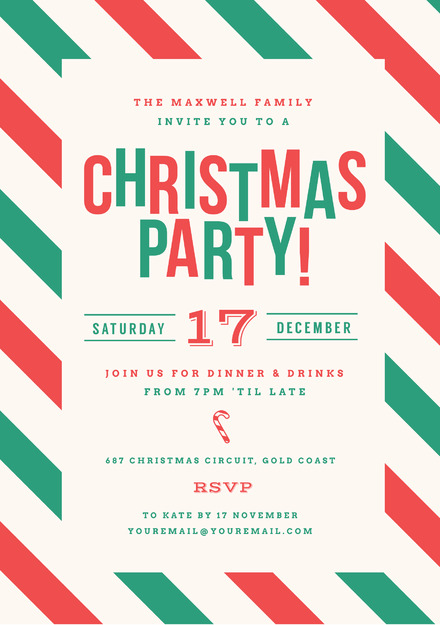 Red And Green Striped Christmas Party Invitation Easil