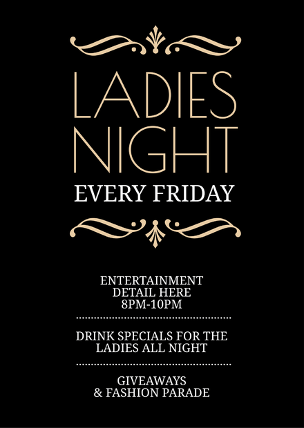 ladies night black white typographic template