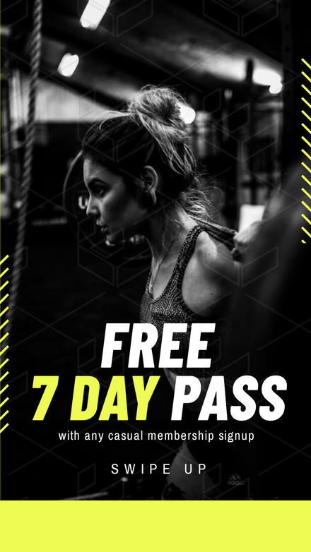 Black & Yellow Free Gym Pass Template