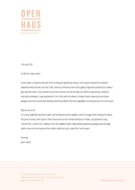 Pale Orange & White Business Letterhead Template