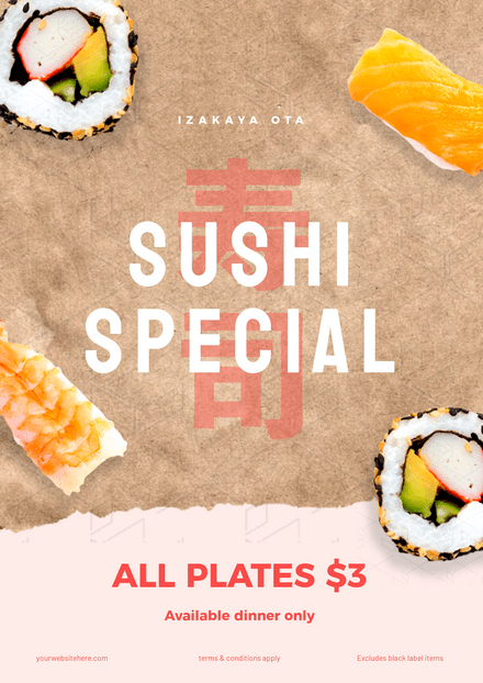 Sushi Special Torn Paper Template