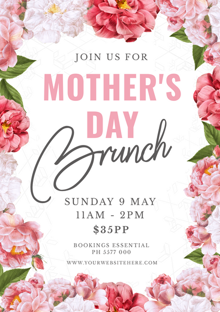 Beautiful Pink Floral Mother's Day Brunch Promo Template