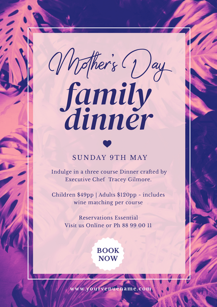 Mother's Day Family Dinner with Purple Palm Background