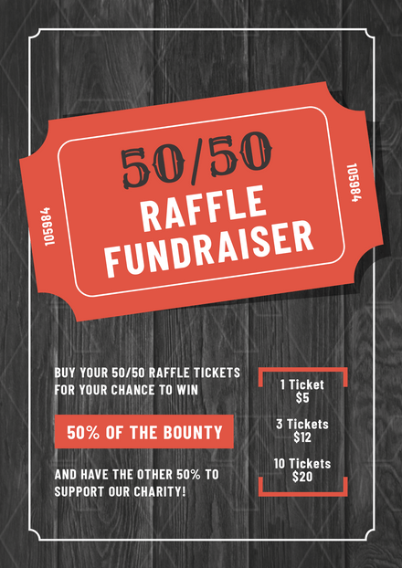 50/50 Raffle Fundraiser on Timber Background