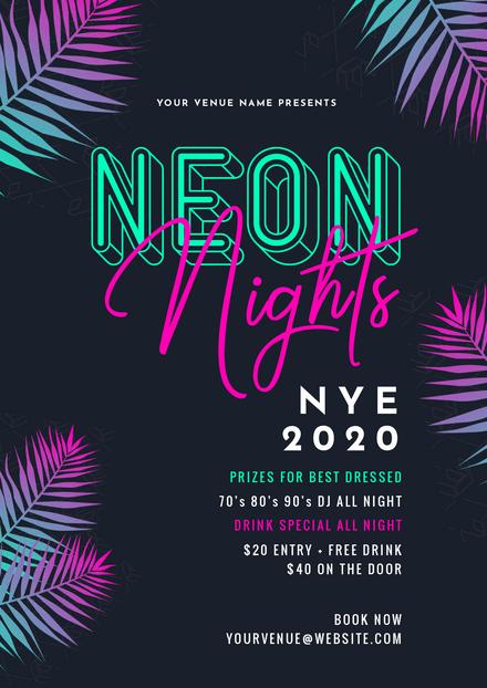 Neon Nights New Years Eve Template