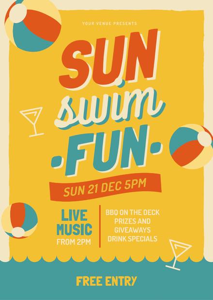 Sun Swim Fun Beach Party Graphic Template