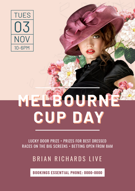 Melbourne Cup Elegant Lady in Maroon Hat with Flowers