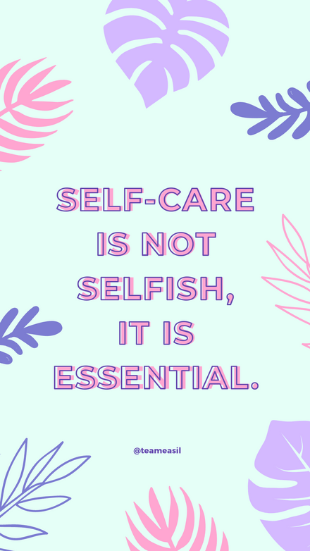 Quote: Self Care Pastel Leaves