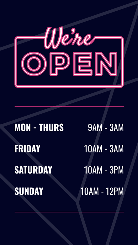We're Open Pink Neon Sign Template
