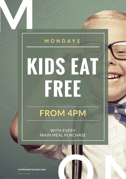 Kids Eat Free design with boy wearing glasses