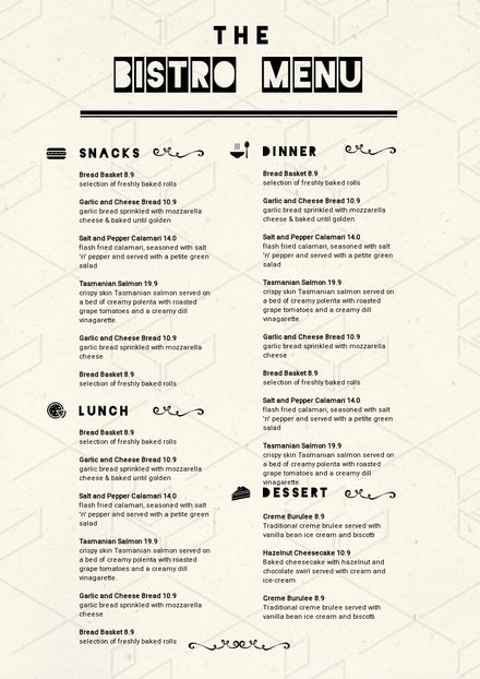 The Bistro Menu Template With Black Icons On Textured Paper Easil