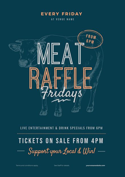 Mega Meat Raffle with Illustrated Cow