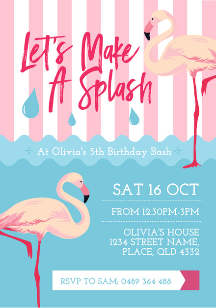 Pink Flamingo And Water Pool Party Invitation Template