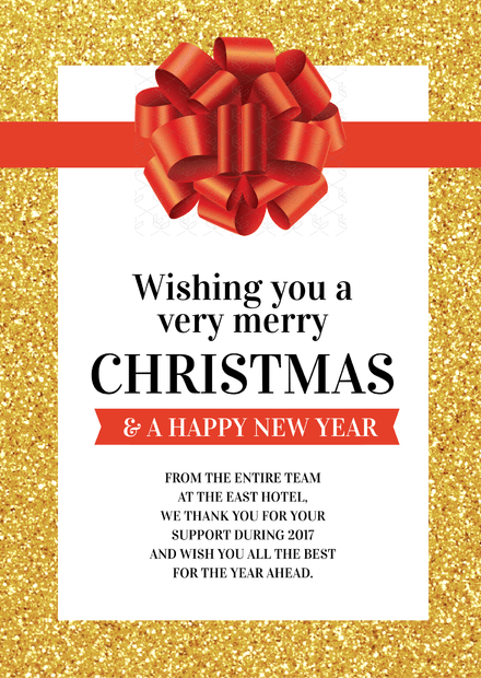 Merry Christmas Message from our team to you template with glitter background