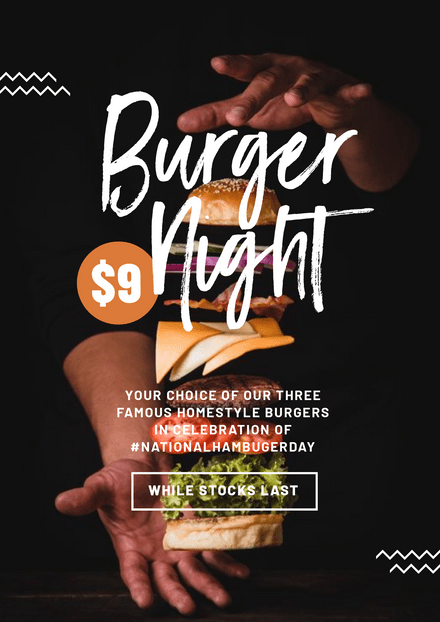 Deconstructed Burger Night Poster with Black Background