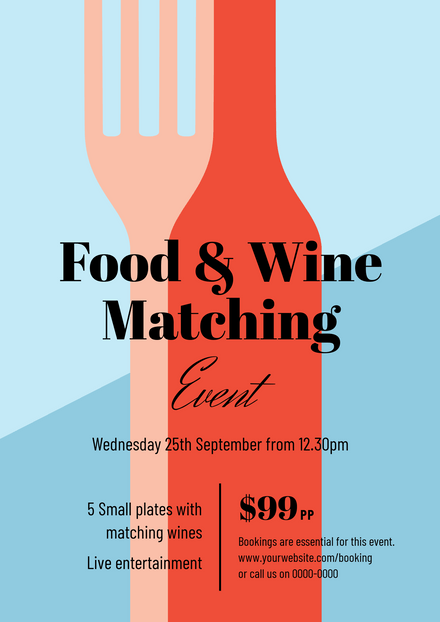 Food & Wine Matching Event - Bottle & Fork Graphic