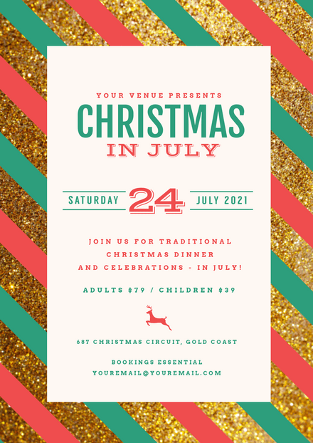 Christmas in July template with red & green stripes on glitter background