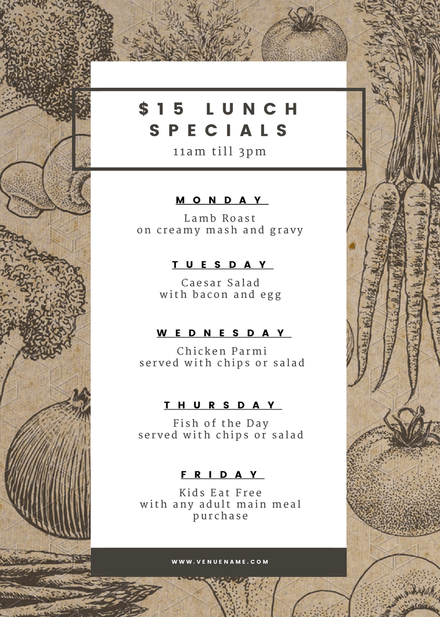 $15 Lunch Specials Menu template on recycled texture background