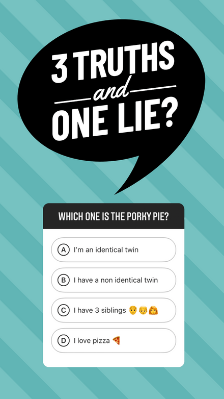 3 Truths and One Lie - Instagram Story Quiz Template