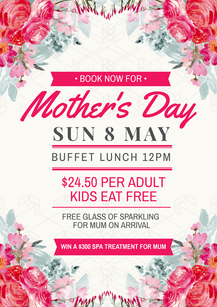 Mother's Day Graphic with floral corners and Script font