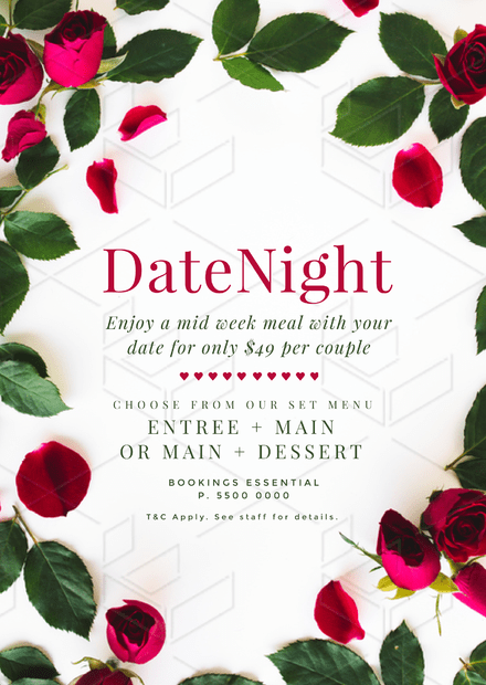 Date Night Dinners design with roses and rose petals