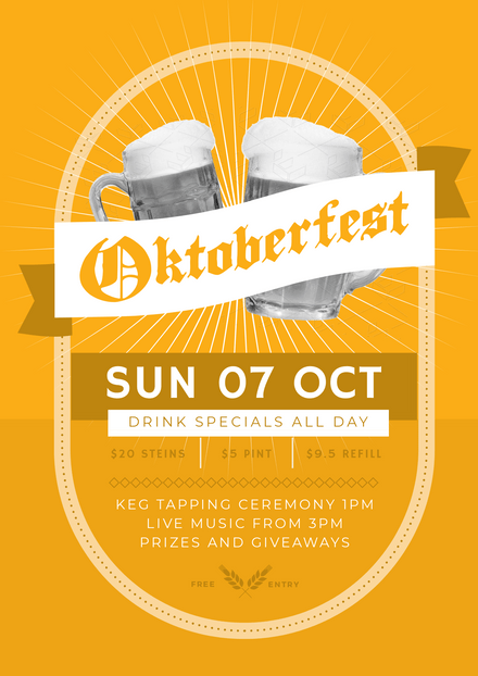 Yellow Octoberfest Even Template with Biers