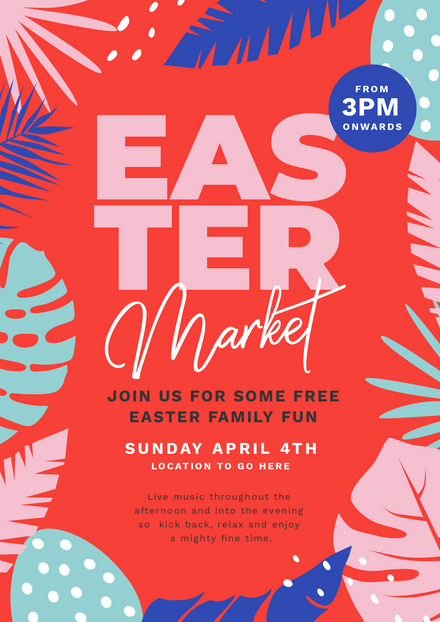 Easter Market Red & Blue Graphic Template