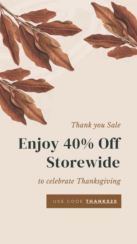 Thanksgiving Thank You Sale