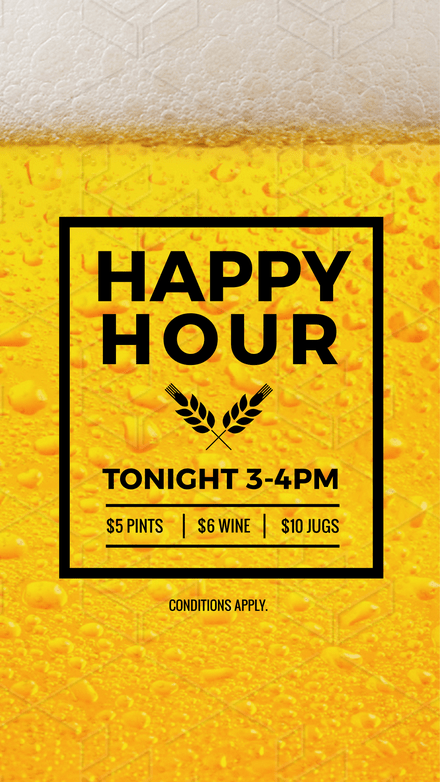Happy Hour Design with close up Beer Background