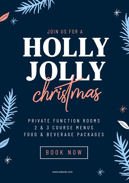 Holly Jolly Christmas Blue & Peach Template