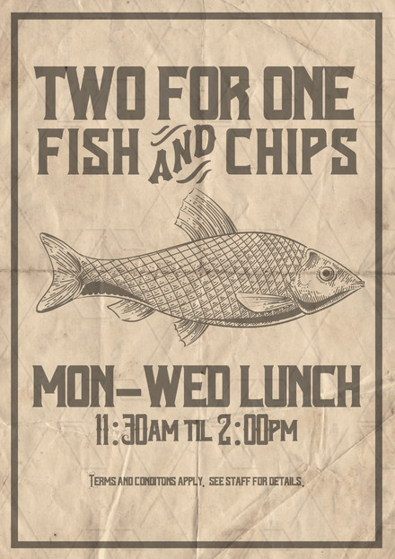 Fish & Chips, 2 for 1