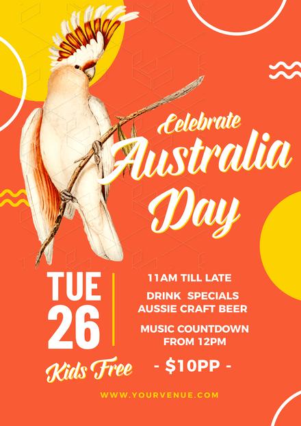 Orange Australia Day Template with large Cockatoo