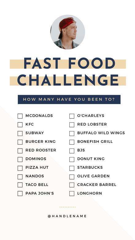Fast Food Challenge Checklist