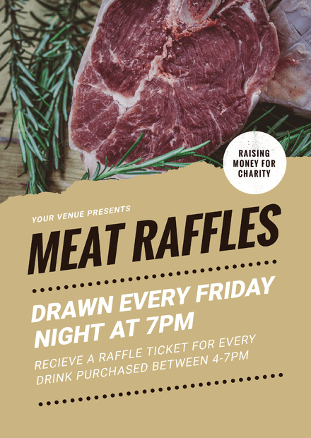 Meat Raffles Template with Angled text