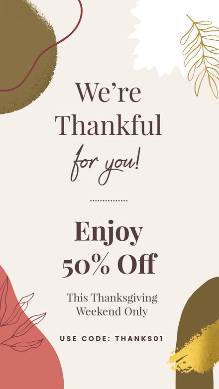 Thanksgiving Sale We're Thankfull